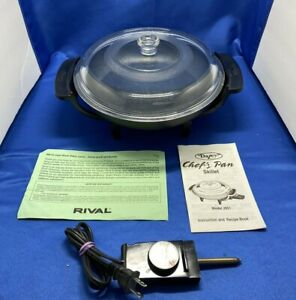 Rival Dazey 10'' Chef's Pan  Non-Stick Electric Skillet Frying Pan W/ Glass Lid