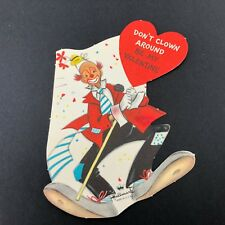 Vtg Hallmark 1950s 60s Hobo Clown Valentines Card Ephemera Greeting Mcm Mod