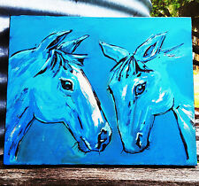 Horse Painting - Acrylic on Canvas Blue Clydesdale and Friend 30cm x 40cm
