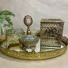 Vintage Globe Hollywood Regency Gold Tone Filigree 4 Piece Vanity Set
