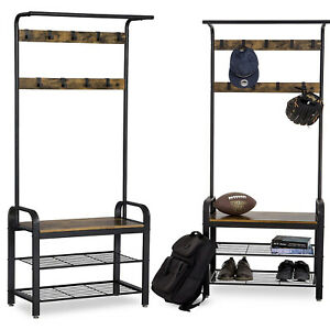 Heavy Duty Hat and Coat Stand Clothes Shoe Rack Hook Shelf Storage Wood & Metal