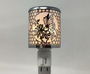 Plug-In Night Light - Silver Die Cut Design - Butterfly