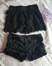 2 Pair Bundle. Size 8 shorts skorts Black and crochet. Hot pants Summer Festival