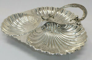 Vintage Silver Plated Shell Design Three Part Serving Dish by Alexander Clark