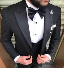 Designer Smoking Hochzeit Party Schwarz Herrenanzug Weste Set Tailliert Slim Fit