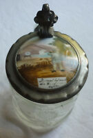 SCHERZKRUG SCHÜTZENTAG BIERKRUG 1/2 Liter KRISTALLGLAS Zinndeckel Porzellan