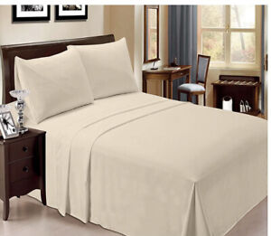 Bamboo Sheets King Wrinkle Free Cooling Deep Pockets New Tan 6PC Set LUXCLUB