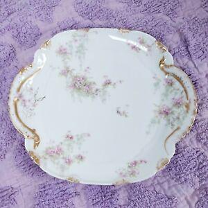 "Limoges Theodore Haviland 10""Cake Plate Platter Handles Pink Flowers"