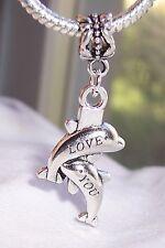Love You Dolphins Beach Sea Life Porpoise Dangle Charm for European Bracelets