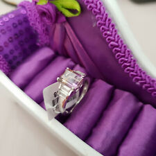 Stunning Anahi Ametrine & Zircon Ring in platinum over Sterling Silver 'O'