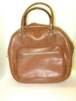 Vintage Airway Industries Zippered Brown Carry-On Travel Luggage Suitcase Bag
