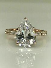 Pear Shape with Round Accents Engagement Ring Silver VVS1/D Valentine's Day Gift