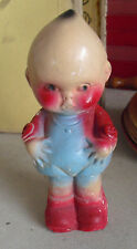 "Vintage 1930s Carnival Chalkware Big Head Odd Baby Doll Figurine 7 3/4"" Tall"