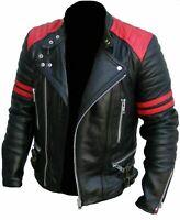 NEW MEN'S CLASSIC DESIGN BRANDO RED & BLACK BIKER GENUINE LEATHER JACKET XS-3XL
