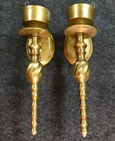Vintage Pair Brass Votive Wall Sconces Candle Holder Ornate Home Garden Decor S