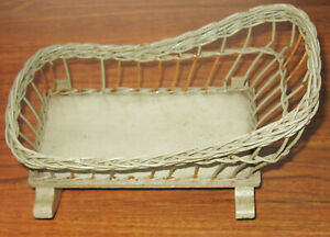 Antique Green Wicker DOLL Rocking CRADLE Crib with mattress pillow Rattan
