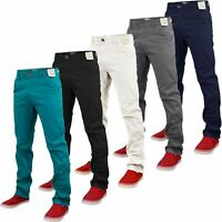New Mens Stretch Straight Leg Slim Fit Chino Jeans Stylish Trousers Pants 30-42