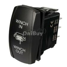7Pin Momentary Rocker Switch Winch In/Out Blue LED Light