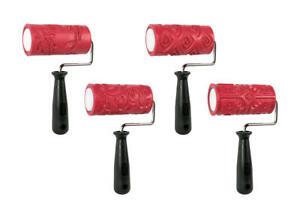 "CLAY PATTERN & TEXTURE ROLLER 4"" wide Art Rubber Roller Set of 4"