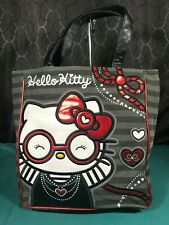 Hello Kitty Grey Stripe Red Bow & Hearts & Glasses Large Tote Bag
