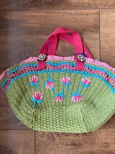 Vintage style woven / weave basket style bag Laguna London, jewels, beach picnic