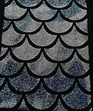 Black Jumbo Hologram Mermaid Fish Scales-4 Way Stretch Lycra-spandex-By The Yard