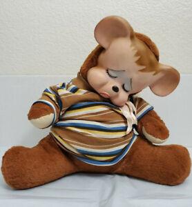 "Vintage Knickerbocker Pouting Teddy Bear Plush Rubber Face 1950s 15"""