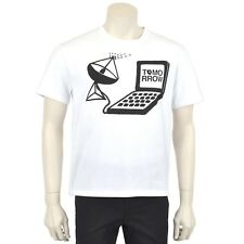 STELLA MCCARTNEY $250 White Tomorrow Print Crew Neck T-shirt