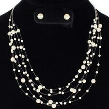 """16"""" white pearl floating collar bib necklace earrings bridal 11"""