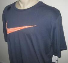 NEW 4XL NIKE MENS T SHIRT Athletic Tee Dark Blue Orange Swoosh Short Sleeve 4X