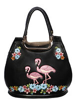 BANNED BLACK CLASSIC VINTAGE KITSCH FLAMINGO HANDBAG BAG FAUX LEATHER ROCKABILLY