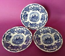Wedgwood - Royal Homes Of Britain - 3 Saucers - Blue And White Castle England