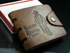 mens genuine leather wallet brown business card fathers day birthday gift money