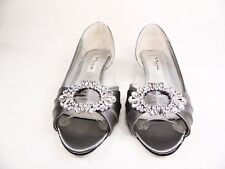 Nina Rivka Womens Pumps  Peep Toe Wedge Heels Silver Size 5M