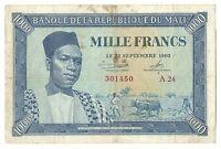 Mali Africa Banknote Money 1000 Francs 1960 P4 aVF President Modibo Keita Rare
