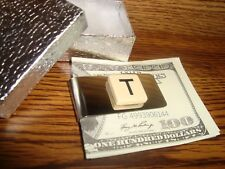 """"""" T """" MONOGRAM INITIAL faux Ivory Stainless Steel-Metal Money Clip wGift Box"""