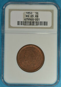 1850 Braided Hair Large Cent NGC MS65RB- Nice Eye Appeal, Gem Example