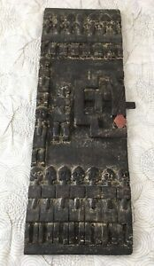 Vintage African Carved Heavy Wooden Door Leaf 17 Folk Protective Characters