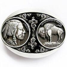 Buckle Indianer, USA, Bison- Bulle, Liberty, 5c-Münze, vintage, Gürtelschnalle