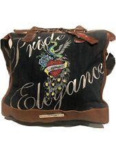 Ed Hardy Blue Denim Leather Trim Shoulder Bag Purse And Wallet Pride Elegance