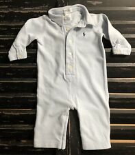 RALPH LAUREN Baby Blue Polo Coverall One-Piece Size 6-9 Months