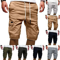Men Casual Jogger Shorts Canvas Cargo Pants Military Combat Workout Gym Trousers