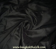"6 Yards Lot - 100% Pure Thai Silk Fabric Hand Made 40""W BLACK Dress Blouse Skirt"