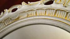 Marco Oval Oro Blanco Oval antigua Barroco 58x68 NUEVO Marco con vidrio