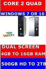 DELL COMPUTER PC QUAD CORE DESKTOP TOWER WINDOWS 10 OR 7 UPTO 16GB RAM & 2TB