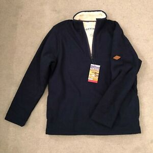 Orvis 1/4 Zip Fully Lined Sherpa Pullover Jumper Size Medium Two Tone Blue BNWT