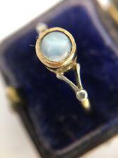 Antique Platinum Diamond 18ct Yellow Gold Moonstone Ring Pretty