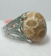 Fossil Coral and  White Zircon Ring in Sterling Silver size 7 TGW 0.75 cts