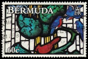 """BERMUDA 635 (SG652) - Stained Glass Windows """"Birds in Tree"""" (pa68193)"""