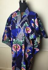 VINTAGE Genuine Japanese Kimono With Tags, Blue Floral Traditional ONE SIZE